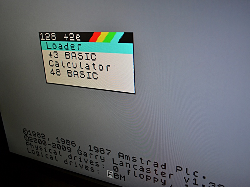 Spectrum +2A boot menu